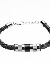 economico -Per uomo Bracciali in pelle Pelle Acciaio al titanio Di tendenza Stile semplice A tubo Nero Gioielli 1 pezzo
