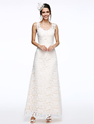 cheap -Sheath / Column Straps Ankle Length Lace Wedding Dress with Lace by LAN TING BRIDE®
