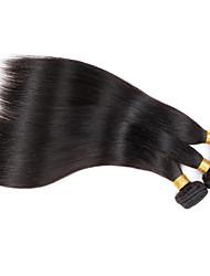 お買い得  -ペルービアンヘア ストレート バージンヘア 人間の髪編む 3バンドル 人間の髪織り ブラック