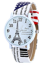 Women's Quartz Watch Clock Women Leather Casual Dress Women's Paris Word Eiffel Tower Wristwatch Cool Watches Unique Watches