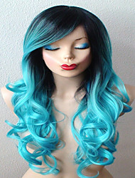 cheap -Teal Blue Wig Long Curly Hair with Dark Roots Wig Durable Heat Resistant Fashion Wig for Daily Use or Cosplay
