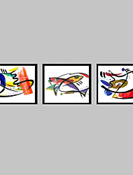 cheap -Framed Canvas Framed Set Abstract Animals Wall Art, PVC Material With Frame Home Decoration Frame Art Living Room Bedroom Dining Room
