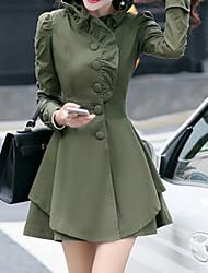 Trench Femme,Couleur Pleine Grandes Tailles Vintage Manches Longues Rose / Vert / Jaune Autres Epais Hiver