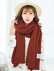Women Autumn Winter Knitted Solid Color Labeling Students Warm Casual Rectangle Scarf  Cashmere Shawl