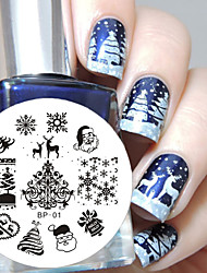 cheap -BORN PRETTY Christmas Nail Art Stamping Plate Image Template Nail Tool
