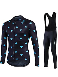 cheap -Fastcute Men's / Women's Long Sleeve Cycling Jersey with Bib Tights Bike Pants / Trousers / Jersey / Tights, 3D Pad, Thermal / Warm, Quick Dry Polyester, Fleece, Silicon / Breathable / Stretchy