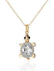 Femme Couple Pendentif de collier Pendentif Forme d'Animal Tortue Strass Imitation de diamant AlliageAjustable Adorable Hypoallergique