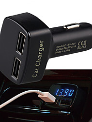 cheap -Multifunctional Dual USB Car Charger With Display For Amper Voltage Temperature