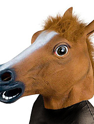 cheap -Horse Head Mask Creepy Party Novelty Halloween Costume Party Animal Head Sounding Mask Brown Horse
