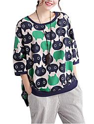 Women's Casual/Daily Cute / Street chic Spring / Fall T-shirt Print Round Neck  Sleeve Green Cotton / Linen Medium