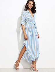 Women's Fine Stripe Holiday Vintage Chiffon DressStriped Deep V Maxi Long Sleeve Blue Polyester Fall High Rise Inelastic Thin