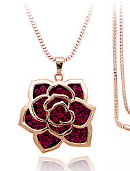 cheap -Women's Roses Flower Fashion Gift Boxes & Bags Pendant Necklace Rhinestone Silver Plated Rose Gold Plated Imitation Diamond Alloy Pendant