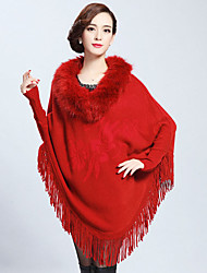 Long Sleeves Faux Fur Casual Women's Wrap With Tassels Capes