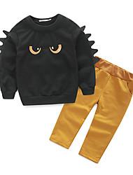 abordables -Ensemble de Vêtements Garçon Quotidien Tartan Coton Printemps Automne Manches Longues Noir