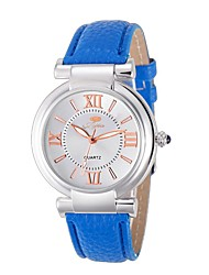 cheap -Ladies' Fashion Rome Number Blue Diamond Wrist Quartz Watch with Leather Strap