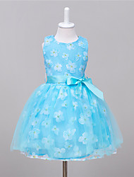 Girl's Party/Cocktail Print DressPolyester Summer Blue / Pink