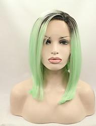Donna Parrucche sintetiche Lace frontale Ondulati Verde Caschetto fila in mezzo Taglio medio corto parrucca del merletto costumi parrucche