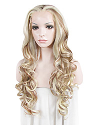 IMSTYLE 26Highlights Natural Looking Cheap Long Beautiful Wave Synthetic Lace Front Wigs