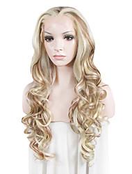 Mujer Pelucas sintéticas Encaje Frontal Ondulado Blanco Rubia peluca de encaje Las pelucas del traje