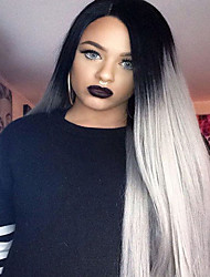 cheap -Fashion Ombre Long Straight Synthetic Lace Front Wigs Glueless TwoTone Dark Black/Gray Women Wig