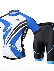 cheap -XINTOWN Men's Short Sleeves Cycling Jersey with Shorts - Black Bike Shorts Jersey Clothing Suits, 3D Pad, Quick Dry, Ultraviolet