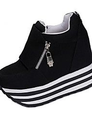 cheap -Women's Shoes Fabric Spring Fall Heels Walking Shoes Wedge Heel Zipper for Casual White Black Red
