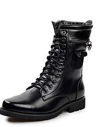 Muškarci Čizme Jesen Zima Udobne cipele Koža Ležeran Ravna potpetica Vezanje Crna
