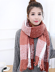 Women Autumn And Winter Mohair Yarn Circle Multicolor Plaid Fringed Scarves Warm Scarf
