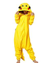 economico -Per adulto Pigiama Kigurumi Pika Pika Pigiama a pagliaccetto Costume Pile Giallo Cosplay Per Pigiama a fantasia animaletto cartone animato Halloween Feste / vacanze / Natale