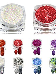 cheap -8pcs Fashion Sparking Slice Glitter Polish Tips Nail Art Decorations New DIY Beauty Girl Makeup Nail Powder Dust SN25-32