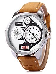 baratos -SHI WEI BAO Homens Relógio de Moda / Relógio Militar / Relógio de Pulso Dois Fusos Horários / Legal Couro Banda Cáqui