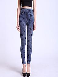 Недорогие -женская новая мода бесшовная печать джинсовая отделка лагерей, хлопок