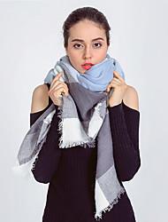 Women Vintage Casual Square Plaid Geometric Cashmere Tassel Wool Scarf  Scarves