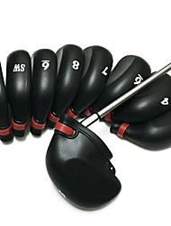 9pcs Black Golf Rubber Iron Cover Head Covers with Rope Headcover for Any Iron Club