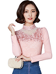 cheap -Fall Winter Going out Casual Women's Plus Velvet Tops Solid Color Stand Collar Long Sleeve Slim Blouse