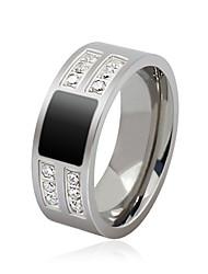 Anéis Grossos Gema Aço Titânio Moda Personalizado Prata Jóias Diário Casual 1peça