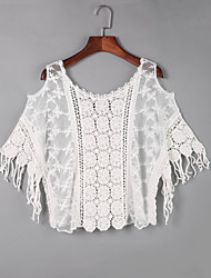 Damen Solide Boho Ausgehen T-shirt,Schulterfrei Herbst Kurzarm Weiß Baumwolle Dünn