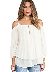 cheap -Women's Off The Shoulder Daily Casual Fall BlouseSolid Strap Long Sleeve White Cotton Opaque