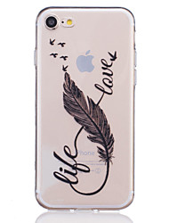 TPU Material 8 Characters  Feather Pattern Painted Relief Phone Case for iPhone 7 Plus/7/6s Plus / 6 Plus/6S/6/SE / 5s