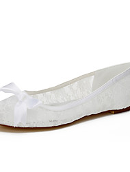 cheap -Women's Flats Spring / Summer / Fall Flats Lace / Silk Wedding / Party & Evening / Dress Flat Heel Bowknot White