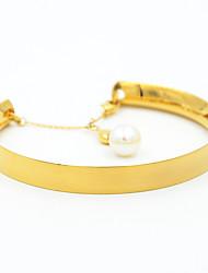 Natural Pearls Charm Smooth Titanium Steel Cuff Bangle