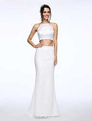 Mermaid / Trumpet Two Piece Jewel Neck Sweep / Brush Train Lace Satin Wedding Dress with Button by LAN TING BRIDE®