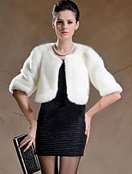 Cappotto di pelliccia Da donna Casual / Taglie forti Inverno Moda città,Tinta unita Rotonda Pelliccia sintetica Bianco / Nero Manica lunga