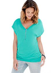 baratos -Mulheres Camiseta - Para Noite Moda de Rua Sólido Algodão Decote V