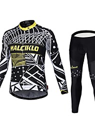 cheap -Malciklo Cycling Jersey with Tights Men's Long Sleeves Bike Compression Clothing Tights Quick Dry Front Zipper Wearable High