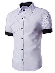 Недорогие -Мужской Однотонный Рубашка На каждый день,Хлопок,С короткими рукавами,Черный / Красный / Белый