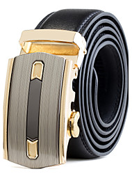 cheap -Men's Black Leather Waist Belt Suits Dress Gold Automatic Belt Buckle