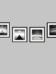 cheap -Landscape / Still Life / People Framed Canvas / Framed Set Wall Art,PVC Black Mat Included With Frame Wall Art