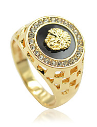 cheap -Men's Statement Ring - Rhinestone, Alloy Lion, Animal Personalized, Luxury 8 / 9 / 10 Silver / Golden For Party / Gift / Daily