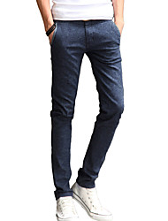 cheap -Men's Solid Casual / Work JeansCotton / Linen / Polyester Blue ACD-911